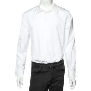 قميص جيفنشي قطن مطرز أبيض بأزرار أمامية مقاس كبير جدًا - إكس لارج