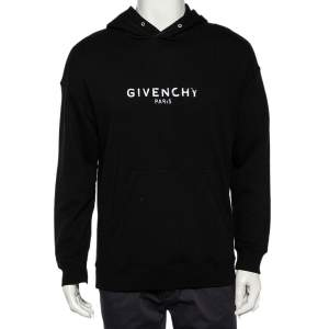Givenchy Black Cotton Logo Printed Hoodie S