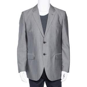 Givenchy Grey Striped Wool & Silk Button Front Blazer XL
