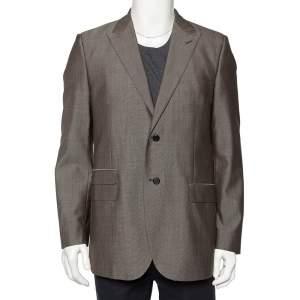 Givenchy Brown Wool & Silk Button Front Blazer XL