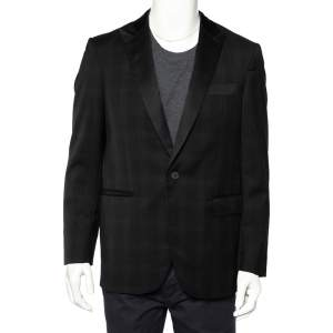 Givenchy Black Checkered Wool Contrast Trim Button Front Blazer L