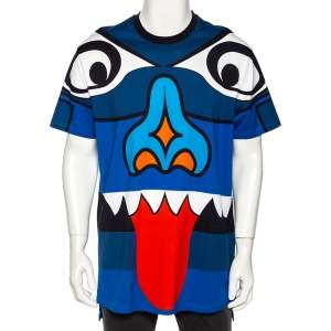 Givenchy Blue Totem Print Cotton Jersey Columbian Fit T-Shirt S