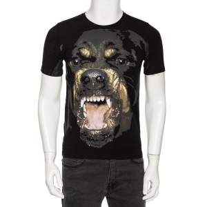 Givenchy Black Rottweiler Print Cotton Jersey Crew Neck T-Shirt S