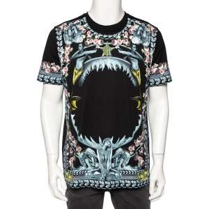 Givenchy Black Shark and Mermaid Print Cotton Oversized T-Shirt M