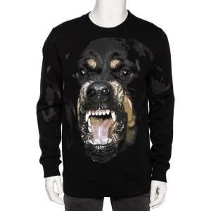 Givenchy Black Cotton Rottweiler Print Crew Neck Sweatshirt S