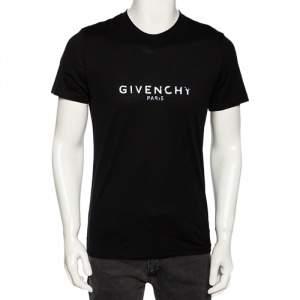 Givenchy Black Cotton Distressed Logo Print Round Neck T-Shirt S