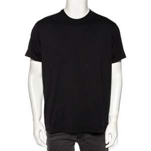 Givenchy Black Cotton Logo Tape Detail Short Sleeve T-Shirt M