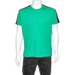 Givenchy Green Cotton Contrast Logo Tape Detail Regular Fit T-Shirt M