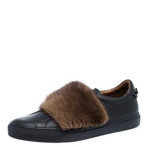 Givenchy Black Leather And Brown Mink Fur Urban Street Slip On Sneakers Size 43