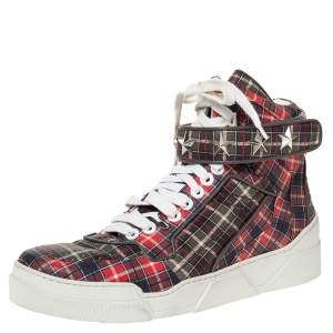 Givenchy Multicolor Plaid Leather Tyson Star Studded High Top Sneakers Size 45