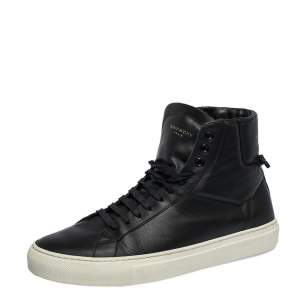Givenchy Black Leather Urban Street Knot Detail High Top Lace Up Sneakers Size 40