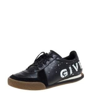 Givenchy Black Leather And Suede Logo Script Low Top Sneakers Size 42