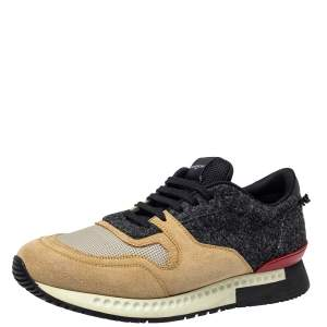 Givenchy Beige/Black Suede Mesh And Wool Active Runner Sneakers Size 43