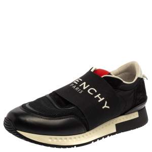 Givenchy Black/Red Leather and Mesh Active Runner Slip On Sneakers Size 43