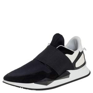 Givenchy Black/White Suede And Neoprene Paneled Sneakers Size 39