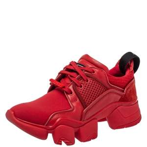 Givenchy Red Neoprene And Leather Jaw Low Top Sneakers Size 41