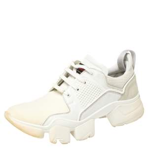 Givenchy White Leather And Neoprene Fabric Jaw Low Top Sneakers Size 43