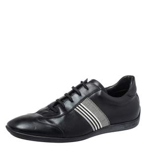Givenchy Black Leather Low Top Sneakers Size 42
