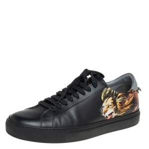Givenchy Black Leather Lion Print Urban Street Low Top Sneakers Size 42