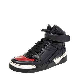 Givenchy Black/Red Leather High Top Sneakers Size 43