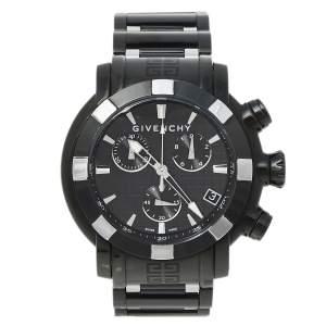 ساعة يد رجالية جيفنشي كرونو جي ڨي.5220جي ستانلس ستيل مطلي پي ڨي دي سوداء 48 مم
