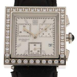 Givenchy White Stainless Steel Diamonds Apsaras Men's Wristwatch 32MM