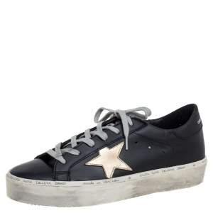 Golden Goose Black/Gold Leather Hi Star Low Top Sneakers Size 41