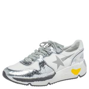 Golden Goose White/Silver Leather Lace Up Sneakers Size 41