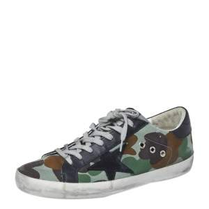 Golden Goose Camouflage Print Canvas and Leather Super Star Sneakers Size 42