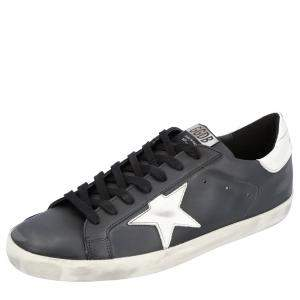 Golden Goose Black Distressed-effect Superstar Sneakers Size EU 44