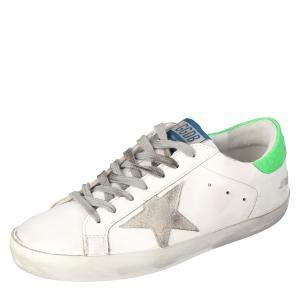 Golden Goose White/Green Superstar Classic Sneakers Size EU 45
