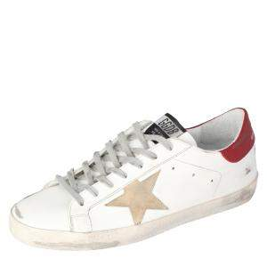 Golden Goose White/Red Superstar Classic Sneakers Size EU 43