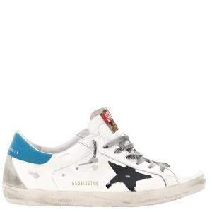 Golden Goose White/Blue/Black Superstar Classic Serigraph Star Sneakers Size EU 41