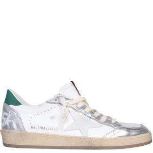Golden Goose White/Silver/Green Ballstar Sneakers Size EU 42