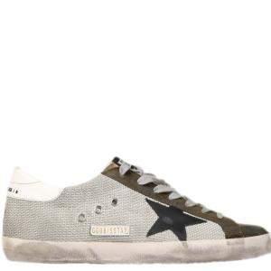 Golden Goose White/Brown/Black Mesh Superstar Sneakers Size EU 42
