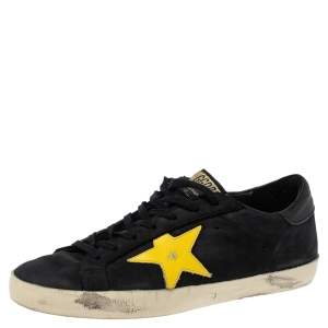 Golden Goose Black Nubuck And Yellow Leather Hi Star Sneakers Size 41