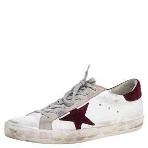 Golden Goose White Leather And Suede Star Superstar Lace Up Sneakers Size 44