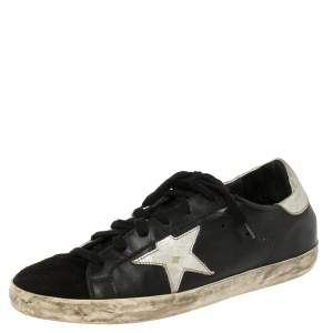 Golden Goose Black Leather Superstar Classic Sneakers Size 39
