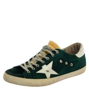 Golden Goose Green Suede Leather Superstar Low Top Sneakers Size 43
