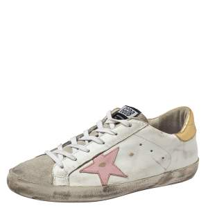 Golden Goose White Leather/Suede Superstar Low Top Sneakers Size 41