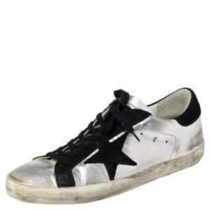 Golden Goose Silver/Black Leather And Suede  Superstar Low-Top Sneakers Size 41