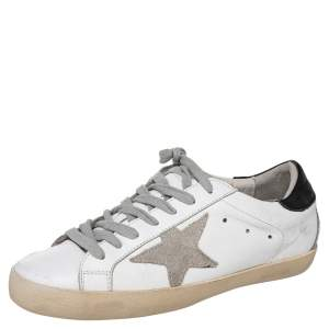 Golden Goose White/Grey Leather And Suede Superstar Low Top Sneakers Size 41