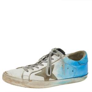 Golden Goose White/Blue Leather Super Star Low Top Sneakers Size 41