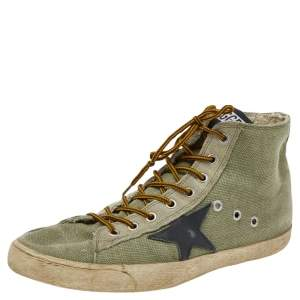 Golden Goose Green Canvas And Suede Francy High Top Sneakers Size 41