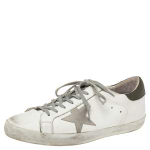 Golden Goose White/Grey Leather And Suede Superstar Sneakers EU 45