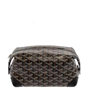 Goyard Black Goyardine Coated Canvas and Leather Boeing 25 Trousse Clutch