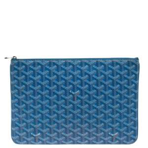 Goyard Blue Goyardine Coated Canvas Zip Pouch