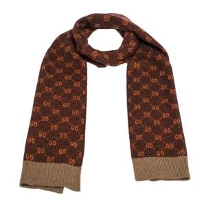 Gucci Rust Supreme GG Monogram Alpaca Wool Scarf