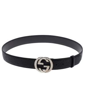 Gucci Black Guccissima Leather Interlocking G Buckle Belt 100CM