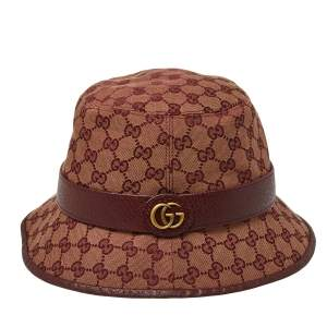 Gucci Burgundy Monogram Canvas Leather Trim Bucket Hat L